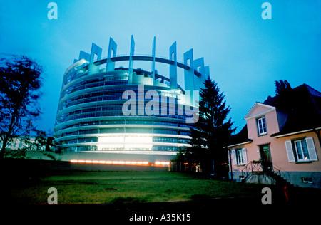 Strasbourg, France, European Parliament Building at Night, 'European Government' (Credit: Studio Architecture) - Stock Photo
