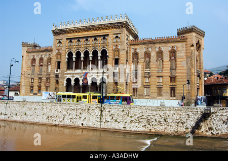 The Balkans Bosnia Sarajevo Old Town Hall The National and University Library Austro Hungarian Building with Moorish - Stock Photo