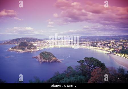 Spain, San Sebastian (Donostia), view of citscape, elevated view - Stock Photo