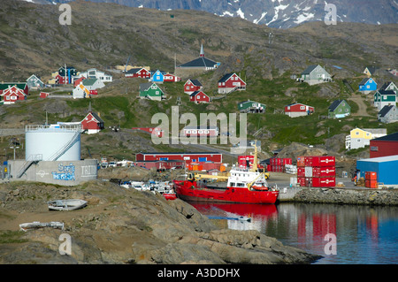 Vista of the city with port ship and colourful houses Ammassalik Eastgreenland - Stock Photo
