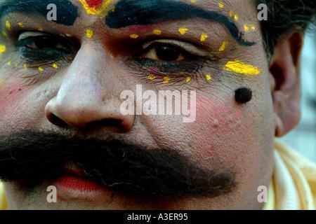 Rajasthani folk dancer at Jaipur Virasat Festival - Stock Photo