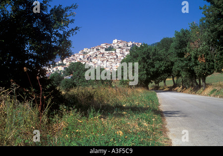 Hill top town of Padula in Basilicata Italy - Stock Photo