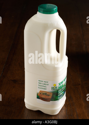 Semi skimmed milk in plastic two pint container - Stock Photo