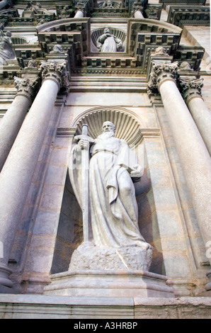 Detail on the facade of Girona Cathedral in Catalonia, Spain - Stock Photo