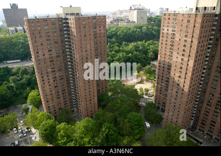Aerial view of housing projects towers in Harlem New York City USA June 2005 - Stock Photo