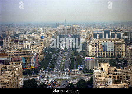 Aerial view of the Unity Square in Bucharest, Romania - Stock Photo