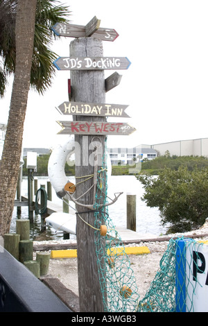 Sign post located on the Clearwater Harbor of the Gulf Intercoastal Waterway. Indian Rocks Beach Florida USA - Stock Photo