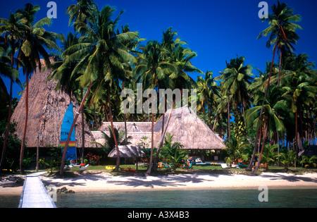 Cousteau Resort set on the beach amid palms on Vanua Levu Fiji - Stock Photo
