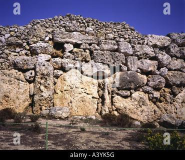 travel /geography, Malta, Gozo, buildings, Ggantija double temple, stonework, circa 3800 - 3600 B.C., historic, - Stock Photo