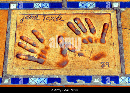 Jane Fonda american actress usa actor s handprints cannes Cote D azur France Europe - Stock Photo