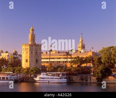 City view to Torre del Oro and La Giralda Seville Spain - Stock Photo