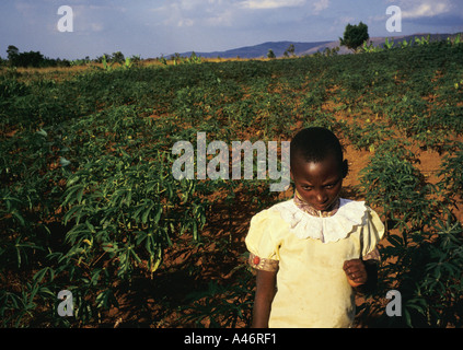 Marie is an 8 years old orphan who works in the fields behind Shalom House where she lives, Ruyigi, Burundi - Stock Photo
