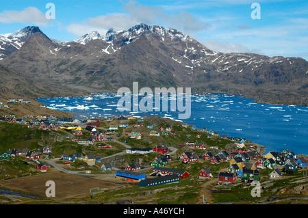 Vista of colourful houses city Ammassalik at Kong Oscars Havn Eastgreenland - Stock Photo