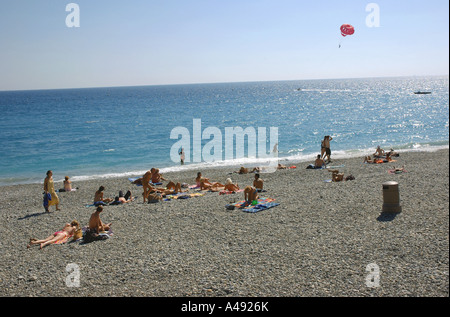 Panoramic view of seafront & beach of Nice Côte D'Azur Cote D Azur Southern France Europe - Stock Photo