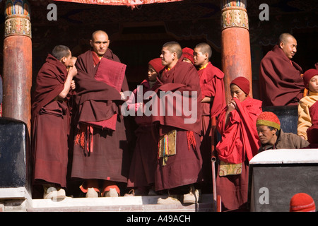 India Ladakh Leh Valley Spitok Gompa festival Buddhist monks - Stock Photo
