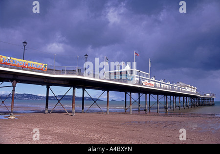 Paignton Pier and extensive sandy beach, on the English Riviera. Devon.  XPL 4715-442 - Stock Photo