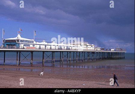 Paignton Pier and extensive sandy beach, on the English Riviera. Devon.  XPL 4716-442 - Stock Photo
