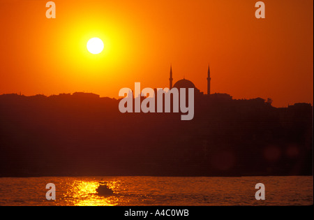 Yenicami Yeni Mosque & Sunset, Istanbul Turkey - Stock Photo