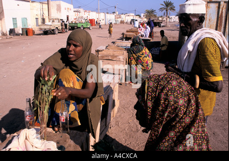 Women selling khat at the market in Tadjoura,   Republic of Djibouti - Stock Photo