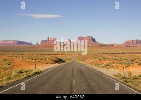 US 163 leading through Monument Valley, Arizona, USA - Stock Photo