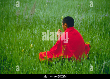 Tukhum, Buddhist Monk Meditating in Siberian Meadow  Irkutsky Region (Siberia)  RUSSIA - Stock Photo