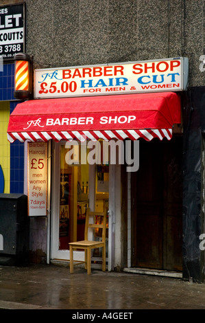 A barber shop Soho central London England UK - Stock Photo