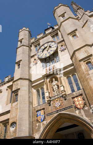 The Clock Tower in The Great Court Trinity College Cambridge UK - Stock Photo
