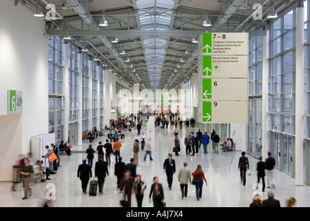Germany, Cologne, Entrance to the new exhibition halls with the Trade fair boulevard - Stock Photo