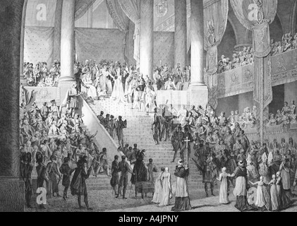 'Consecration of Napoleon and Coronation of Josephine by Pope Pius VII, 2nd December 1804. Artist: Unknown - Stock Photo