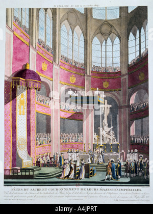 'Consecration of Napoleon and Coronation of Josephine by Pope Pius VII, 2nd December 1804'. Artist: Unknown - Stock Photo