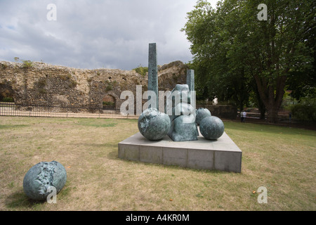 Modern sculpture against Reading Abbey ruins. Forbury Gardens, Reading ,Berkshire, England - Stock Photo