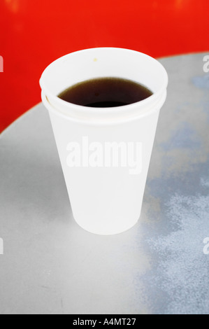 Two Paper Cups With Tea On Metal Table - Stock Photo
