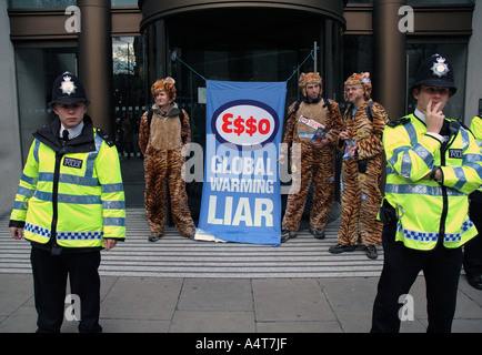 Climate Change Environmental protest targeting Esso Oil company in Central London. - Stock Photo