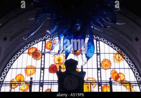 Dale Chihuly blown glass installation at Tacoma train station - Stock Photo