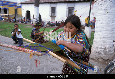 Painet ha0644 5524 guatemala girl backstrap loom antigua by country developing nation less economically developed - Stock Photo
