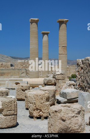 Columns stand inside the Acropolis of Lindos on the Greek island of Rhodes - Stock Photo