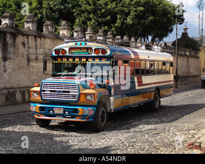 Painet ip1701 guatemala typical chicken bus antigua country developing nation less economically developed culture - Stock Photo