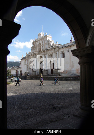 Painet ip1719 guatemala cathedral main square antigua country developing nation less economically developed culture - Stock Photo