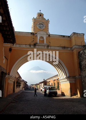 Painet ip1745 guatemala archway clock antigua country developing nation less economically developed culture emerging - Stock Photo