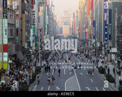 Foot traffic on main street of Ginza Tokyo - Stock Photo