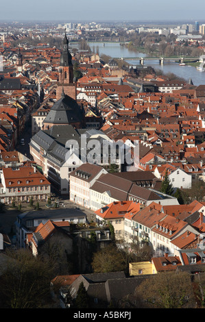 A view towards the centre of the historic old town of Heidelberg in Germany - Stock Photo