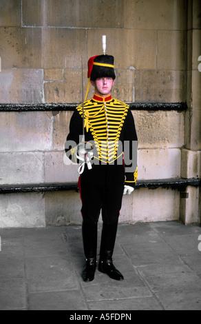 Household Guardsman at horse guard barracks in London England - Stock Photo