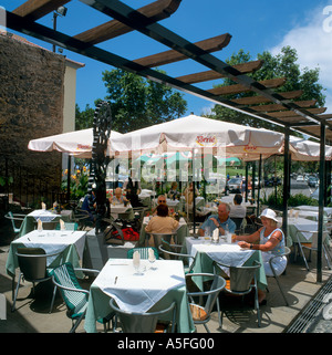Sidewalk Restaurant in Old Town (Zona Velha), Funchal, Madeira, Portugal - Stock Photo