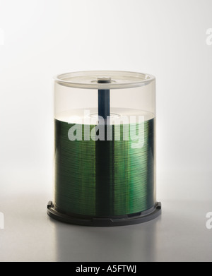 Stack of compact discs in case - Stock Photo