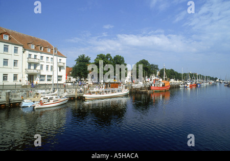 area of old river town of warnemunde baltic sea county of mecklenburg western pomerania germany - Stock Photo