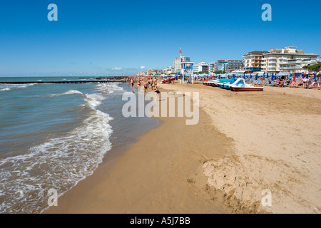 Beach, Lido de Jesolo, Venetian Riviera, Italy - Stock Photo