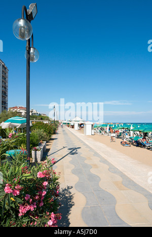 Beachfront Promenade, Lido de Jesolo, Venetian Riviera, Italy - Stock Photo