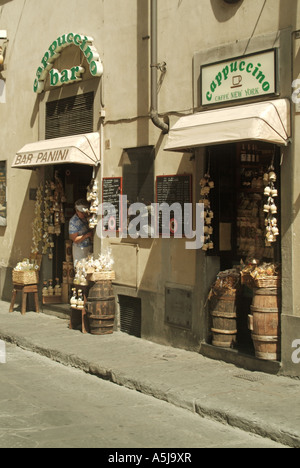 Florence Cappuccino Bar in narrow side street - Stock Photo