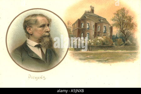 Charles Dickens 1812-1870 and his home Gadshill  in Kent - Stock Photo