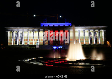 Old Museum and Lustgarten fountain in Berlin during the Festival of Lights - Stock Photo
